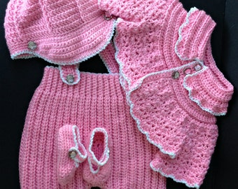 Baby girl's Pink Jacket, Overall Pants, Cap, and Booties
