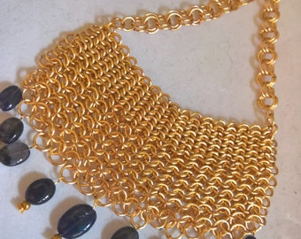 Chainmaille Necklace with Iolite