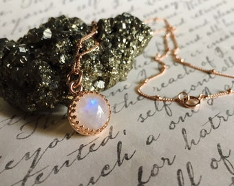 10 mm Rainbow Moonstone Pendant   - 14K Gold Filled Satellite chain - 14k Vermeil Crown Bezel setting