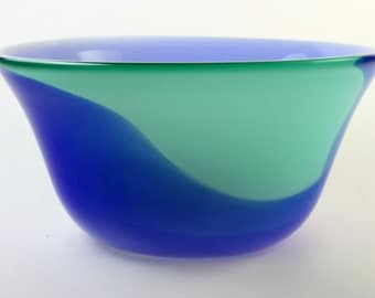Glass Bowl, Cobalt Blue and Green Bowl with White Interior, Hand Blown Bowl, Opaque Bowl, Glass Art, Open Bowl, Home Decor - Free Shipping
