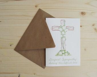 Sympathy Card- Cross Sympathy Card- Deepest Sympathy Card- Thinking of You Card- Difficult Time Card