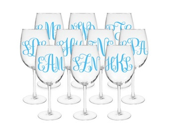 Set of 10 Monogrammed Wine Glasses