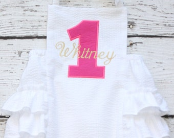 Hot Pink and Gold Sunsuit Monogrammed, First Birthday Ruffle Bubble, White Ruffle Bottom Bubble