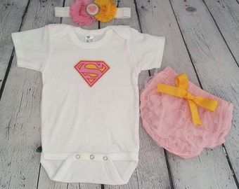 Baby Superman outfit - Baby Supergirl outfit -Baby Supergirl! Baby Girl Superhero outfit - Pink ruffle bloomers - Superhero headband