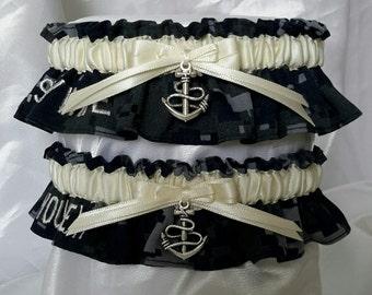 """Embroidered """"US Navy Wife/You're Next"""" NWU Garter Set - Ivory"""