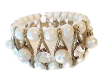 Vintage Bracelet Pearl And AB Rhinestone Gorgeous