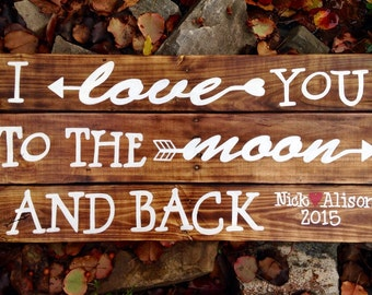 Wood Sign, Distressed, Rustic Reclaimed Wood Sign, I Love You to the Moon and Back Large