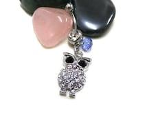Rhinestone Owl Navel Ring with Blue Crystal Bead, Cute Owl Belly Ring, Belly Bar Ring, Crystal Belly Ring, Boho Bellyring, Hippie Bellyring