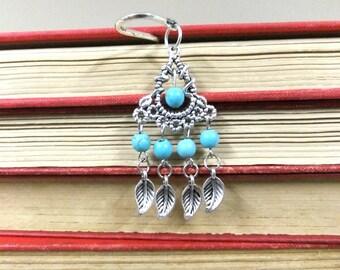 Bohemian Bookmark,Turquoise Bookmark, Silver Feather Bookmark, Beaded Bookmark, Boho Bookmark, Student Gift, Teacher Gift, Friendship Gift