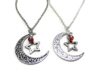 Silver Moon and Star Necklace, Crescent Moon Necklace, Antique Silver Moon, Red Crystal Necklace, Moon Jewelry, Star Jewellery,Star and Moon