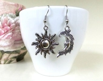 Silver Sun and Moon Earrings, Moon and Sun Earrings,  Celestial Earrings, Crescent Moon Jewelry, Sun Jewelry, Pagan Earrings, Boho Earrings