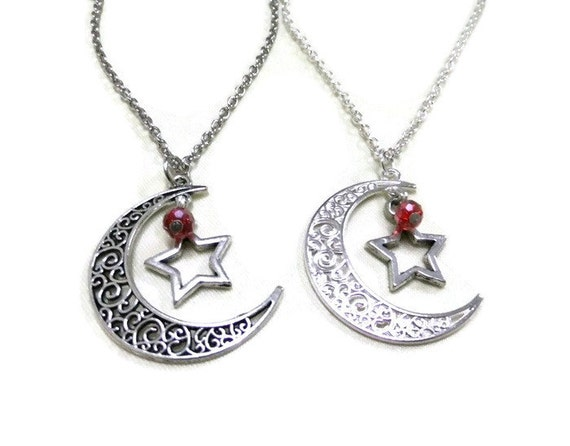 silver moon and necklace crescent moon necklace antique