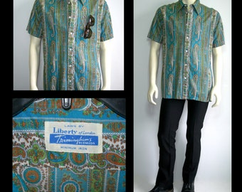 Rare Vintage 50s Liberty of London Trimmingsham Bermuda Shirt~ US Mens*Medium to Large~ US Womens*Large to X Large Tall