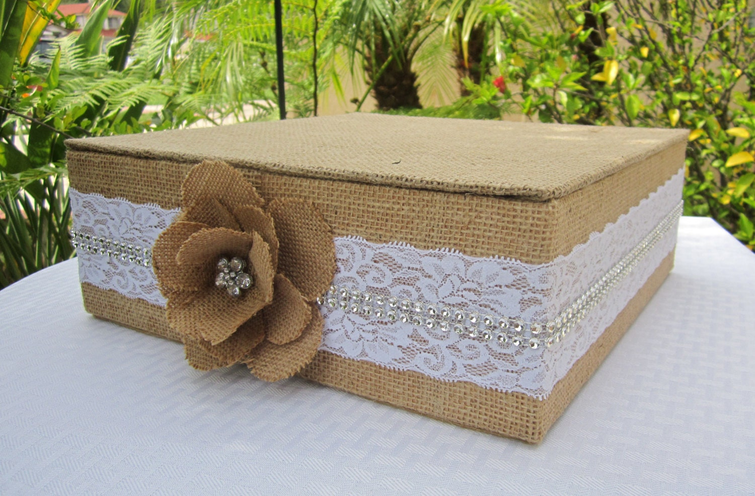 15 22 Burlap and Lace Square Wedding Cake Stand