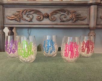 Monogrammed Stemless Plastic Wine Glasses