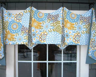 Valance Ready to Ship! Jackson Window Treatment in Waverly Button Blooms color Spa Floral, Blue, Yellow, Bedroom, Living, Kitchen, Pleated