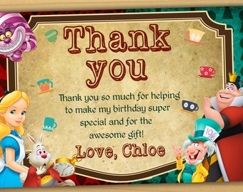 Alice in wonderland thank you card, tea party Thank you card, mad hatter thank you card - Digital file
