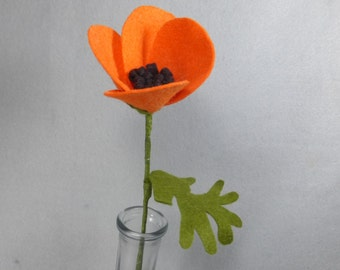 Felt California Poppy Made To Order - Orange Felt Flower on a  Long Stem - Artificial Flower - Artificial Poppy - Fake Poppy - Fake Flower