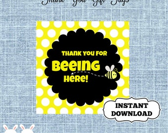 Bumble Bee Baby Shower- Thank You Gift Tags- Square Gift Tags- Thank You for Beeing Here Baby Shower Gift Tags-Instant Download - Bee Baby