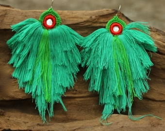 Green mint and green knitting coton yarn earrings with sterling silver hooks