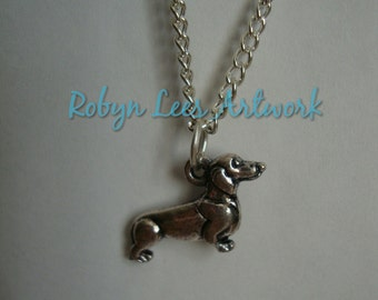 Dog Lovers Silver Dachshund Puppy Dog Charm Necklace on Silver Crossed Chain or Black Faux Suede Cord, Pets