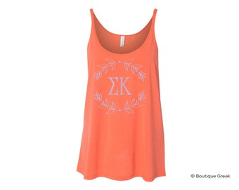 SK Sigma Kappa Wreath Flowy Sorority Tank