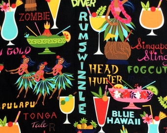 Fabric, Rum Swizzle, Black Tropical Hawaiian Drinks, Tiki Dreams, Hula Girls, Alexander Henry, By the Yard
