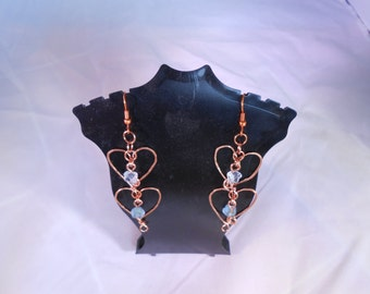 Hammered Copper Hearts Earrings