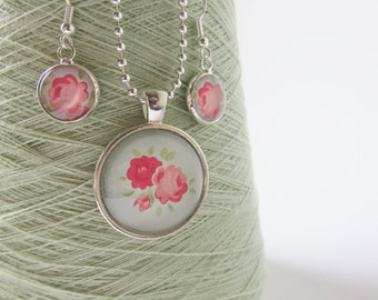 Pink roses silver plated necklace & earring jewellery set