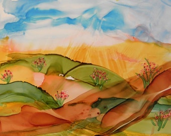 Painting ink landscape light colors original 5x7 abstract alcohol ink painting on yupo # 226