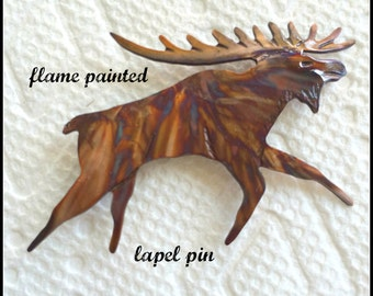 moose jewelry, moose brooch, moose pin, lapel pin, flame painted, fire torched, oxidized copper, Canadian moose, Bullwinkle, copper brooch