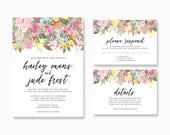 Personalized Printable Wedding Invitation Set - Rustic Floral Invitation Set - Wedding Invitation, RSVP Card, Details Card (008)