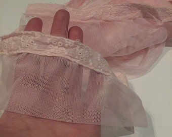 5 yards of Pink eyelet tulle fabric trim