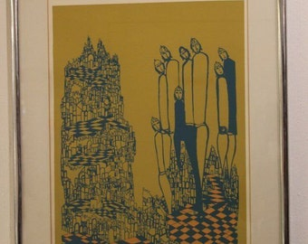 Vintage Mid Century Modern Mireille Kramer Etching 116/125 Signed and Numbered