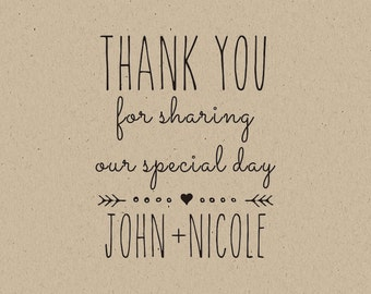 custom  Stamps-custom  thank you rubber stamp- thank you for sharing our special day! wedding favors personalized wedding favors- diy bride