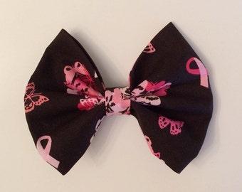Breast Cancer Awareness Hair Bow, Pink Ribbon Hair Bow, Pink and Black Hair Bow