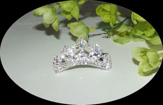 Puppy Bows ~ Rhinestone TIARA styles 6-10 dog hair barrette clip CRYSTAL ~USA seller