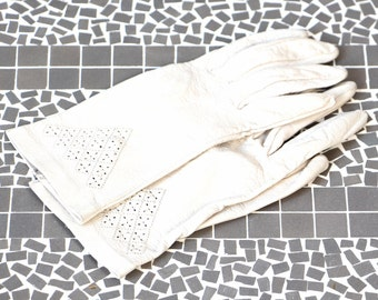 Vintage leather gloves real leather stitched openwork embellished cream tone