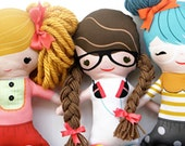 Custom Personalized Girl Doll Organic Soft Ethically Made in the USA - You choose colors, styles, outfits and more
