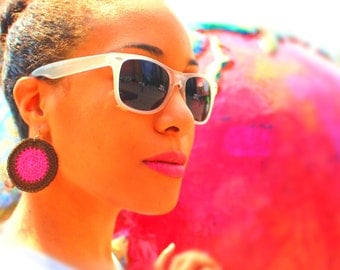 Hot Pink and Chocolate Crochet Earrings