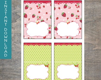Strawberry food tent labels foldable printable and digital file | Shortcake Classic Berry Polka Dot Pink Green Birthday Party