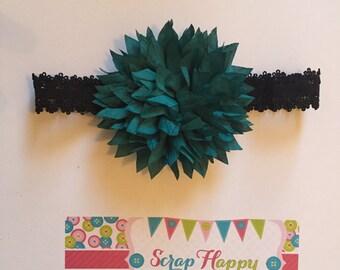 Black Lace and Teal Dahlia Flower Headband