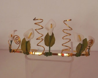 Calla Lily wedding bridal tiara made in Scotland UK. Calla tiara