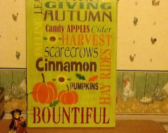 Hand painted distressed wooden subway sign/ fall/ Halloween/ thanksgiving