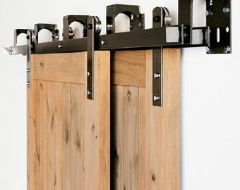 Bypass Industrial/Classic Front Strap Sliding Barn Door Closet Hardware