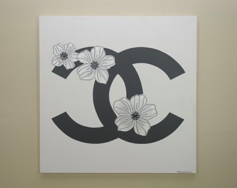 Chanel Flowers Painting (24x24) Fashion Inspired Art, Home Decor Art, Silver Painting, Chanel Painting, Rhinestone Art