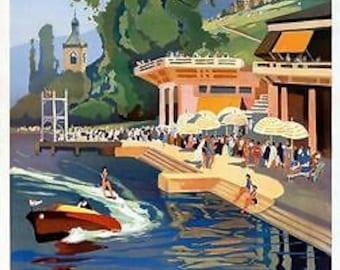 Vintage Evian Spa France Tourism Poster A3 Print