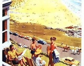 Vintage British Rail Woolacombe Railway Poster A3/A2 Print