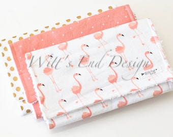 Modern Cotton Chenille Burp Cloths, Set of 3- Coral Pink and Gold Flamingos