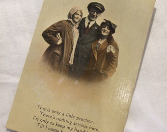 Edwardian photo POSTCARD  - c1916 Humourous Threesome Wartime, WWI